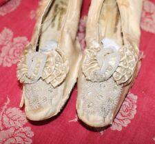 Antique Women's White Satin Shoe Elaborate Beading 1800s As Found Philadelphia