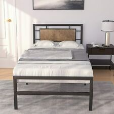 Twin Size Faux Leather Upholstered Headboard Platform Metal Bed Frame Bedroom