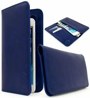 Universal Bi-Fold Wallet Case PU Leather Purse Clutch 2 pocket 3 slot- Blue