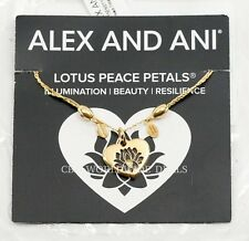 NEW Alex and Ani LOTUS PEACE PETALS Adjustable Gold Heart Necklace