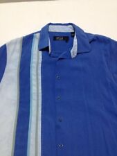 Nat Nast Men's Large Short Sleeve Silk Camp Shirt Off White Blue Stripe Bowling