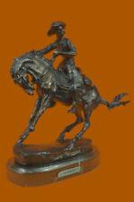 Frederic Remington Cowboy Riding Horse Rodeo Bronze Sculpture Marble Base Statue