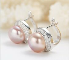 Elegant Freshwater Pearl Sterling Silver Platd Earrings Wedding Bride bridesmaid