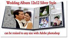 "Photoshop Wedding Digital Photo Book Templates PSD 12x12""  Silver"