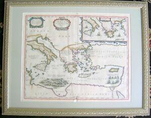 1653 JANSSON AENEAE TROJAN WAR GREEK MYTHOLOGY ANTIQUE MAP NICE CONDITION - B/O