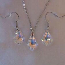 Swarovski Elements Crystal in Aurora Borealis Pendant Necklace Aurore Boreale AB