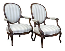 Pair of Antique French Louis Philippe Fauteuils with Fabric