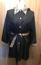 Burberry London  Women's Classic Black Raincoat Hoodie SIZE S  10