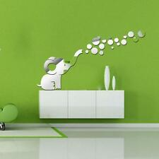 Fashion Cute Elephant Blowing Bubbles DIY Mirrors Wall Sticker Home Decoration