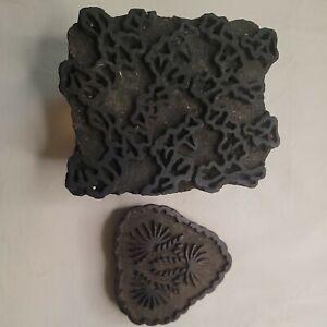 Lot of 2 Vintage Old Wooden Hand Carved Textiles Printing Blocks Stamp Arts