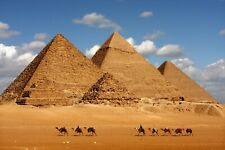Egypt Pyramids - Camels Desert Landscape Wall Art Large Poster & Canvas Pictures