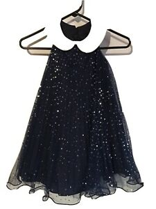 Bonnie Jean Dress Girls Sz 5 Navy Blue Sequins Sleeveless