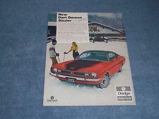 "1971 Dodge Dart Demon Sizzler Vintage Color Ad ""It Lets You Be a Sport..."""