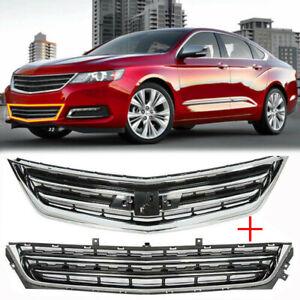 Front Upper+Lower Grille Set Chrome Black For 2014-2020 Chevrolet Impala Sedan