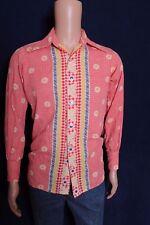 VTG 1970s Van Heusen 417 butterfly daisy body fit checkered men's shirt XS