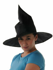 Witch Hat Satin Plain Black - Halloween Fancy Dress Adult Accessory Costume
