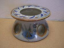 1980s Ken Edwards Tonala Round Warmer Stand Blue Birds & Flowers - Mexico