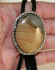 Sterling Silver Slide Picture Jasper Bolo Tie with Braided Leather Cord (#181)