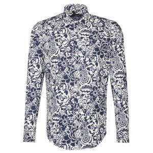 Seidensticker Langarm Hemd Tailored Kent blau weiß Print Gr. 45 / 233090.17