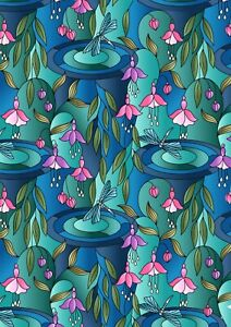 0.5 metre Reflections Greens & Blues 100% Cotton Fabric 112cm wide