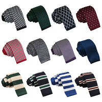 DQT Mens Skinny Tie Knit Knitted Plain Pattern Spotted Stripe FREE Pocket Square