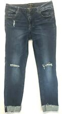 Womens Distressed Cuffed Jeans Size 11 Almost Famous Dark Wash Light Fade