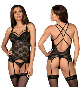 OBSESSIVE 860 Luxury Underwired Corset, Attached Garter Straps and Thong Set