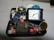 Vintage Junk Drawer Lot in Metal Sewing Box Charms Padlock Boy Scout Dice++