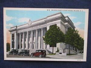 1930s Wilson North Carolina Court House & Cars Postcard