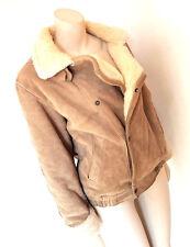Vintage 1980s 80s Suede Sheepskin Style Flying Jacket Aviator Jacket Medium 12
