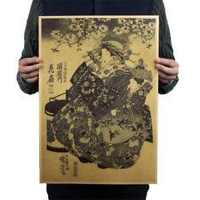Retro Japanese Ukiyoe Geisha Vintage Kraft Poster bar cafe wall Decorat LA