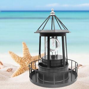 Lighthouse Solar LED Light Garden Outdoor Rotating Beam Sensor Beacon Lamp US