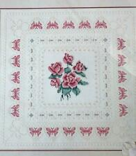 Vintage 1986 Dimensions Roses N Lace Cross Stitch Kit Craft Pillow 3610 Picture