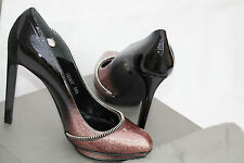 NEW-NIB ALEXANDER MCQUEEN EYELET-EMBELLISHED LEATHER PUMPS SIZE 38.5 RRP£525