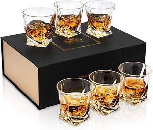 KANARS 6 Whiskey Glasses No-Lead Crystal Whisky Glass 300ml Whiskey Brandy Gift