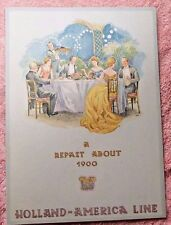 Vintage Menu Holland America Line Cruise Ss Veendam A Repast About 1900 1950