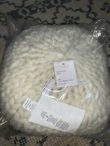 """Pottery Barn Cozy Handknit Round Pillow Cozy Plush 15"""" Diam 7"""" H Ivory Sold Out!"""