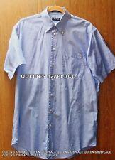 Nautica Men's M 15 1/2 Shirt Blue Striped Button Down Short Sleeve Medium EUC