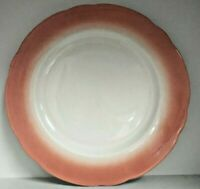 4 Dinner Plates Pink White Jackson China Falls Creek, PA Scallop Restaurant Ware
