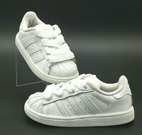 Adidas Superstar OG Shelltoes Fat Laces White on White Toddler Sneakers Size 8k