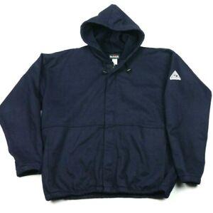 Bulwark Flame Resistant ARC 18 Navy Blue Fleece Lined Full Zip Hoodie Jacket XL