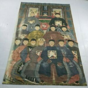 Huge Vintage French Print Chinese Emperor Scene Wall Hanging Tapestry 220X133cm
