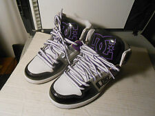 DC Womens DESTROYER HI Skateboard White Black Silver Purple Shoes 9 W NEW UNUSED