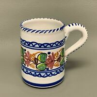 A H Puente Coffee Mug Cup Mexico Pottery White Blue