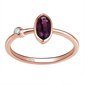 Gemstone Ring For Women Oval Purple Amethyst Rose Gold Plated Sterling Silver