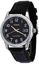 Casio Men's Analog Solar Power Stainless Steel Black Leather Watch MTPVS01L-1B1