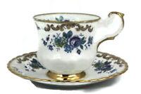 Royal Dover Bone China White Blue Floral Gold Trim Teacup Saucer Set