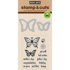 Hero Arts  BUTTERFLY PAIR Stamp & Cut Clear Stamps + Matching Dies 15 PK Ladybug