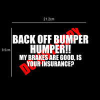Funny BACK OFF BUMPER HUMPER Tailgate Window Decal Sticker Car Accessories Top