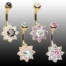 Rose Gold Luxuriant Spring Flower Belly Ring Sexy Black Clear Aqua Pink Purple
